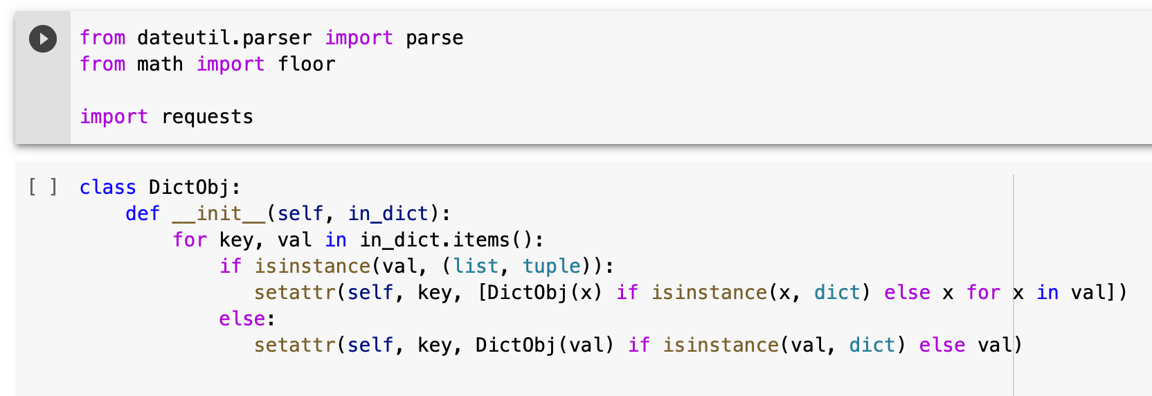 Python Dictionary as Object