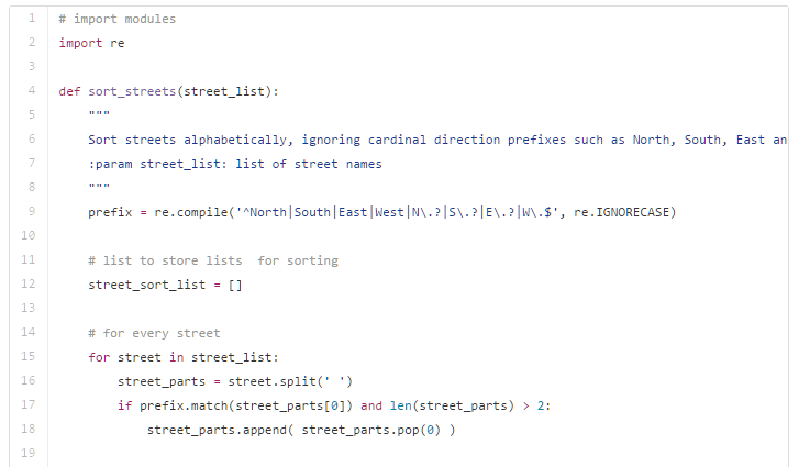 Sort Streets by Name Using Python Improved!